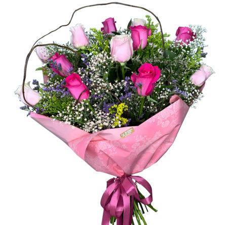 Ramo de 12 Rosas Pink