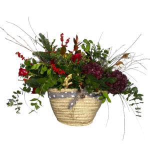 centro de flores de navidad elfo